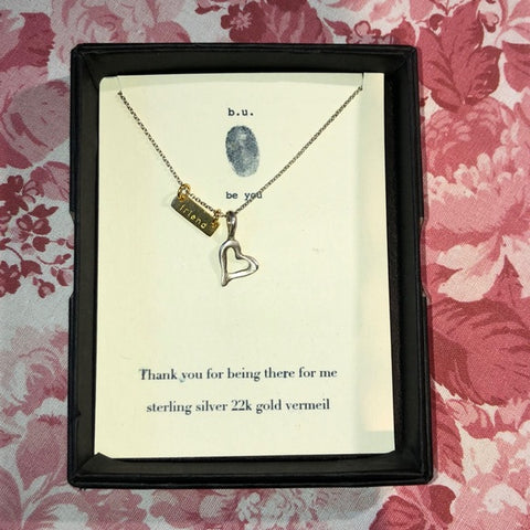 B.u. Gold Friend & Silver Heart Charm Necklace