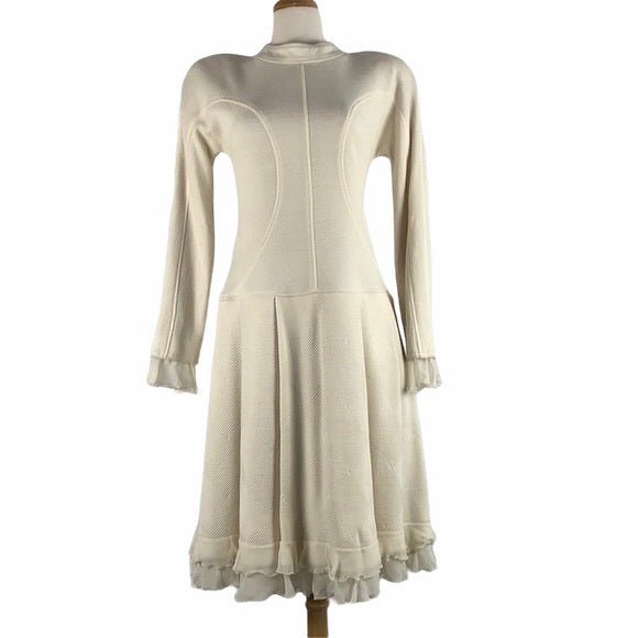 VINTAGE Cream Dress Mock Neck Aline
