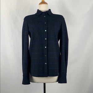 Derek Lam Blue Plaid Shirt Jacket