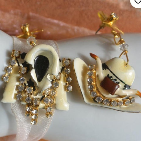 Lunch At The Ritz Vintage Cowboy Dangle Earrings