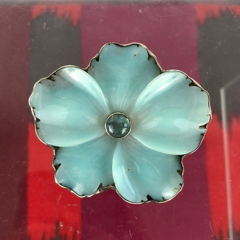 Blue Sterling Flower Pin/Brooch