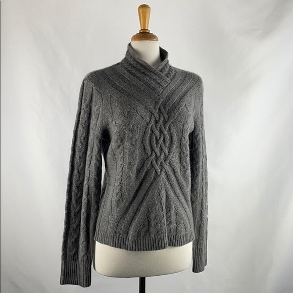 Saks Fifth Ave Gray Cable Knit Cashmere Kint