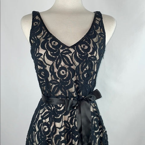 Tahari Black Lace Fit & Flare Dress
