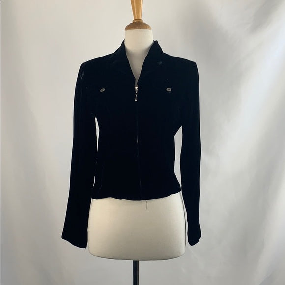 Coldwater Creek Black Velvet Zip Front