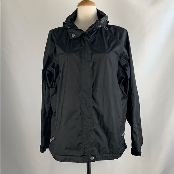 White Sierra Black Nylon Windbreaker with Hood