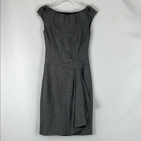 Karen Millen Gray Button & Pleated Dress