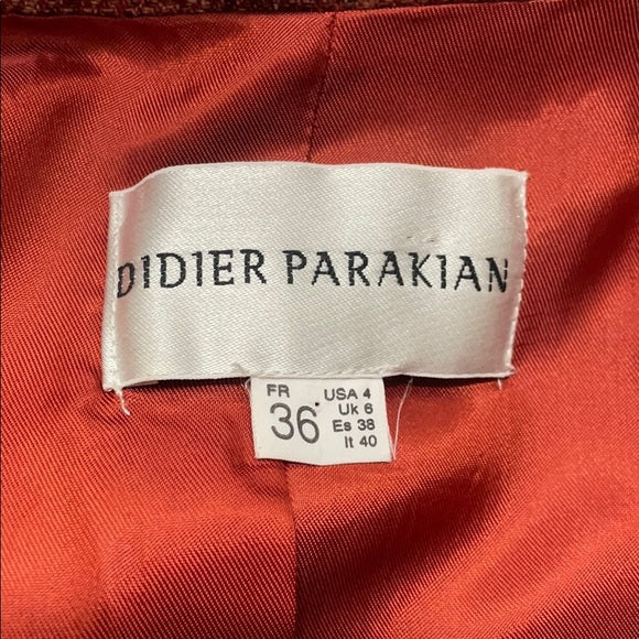 Didier Parakian Rust Wool Asymmetric Skirt Suit