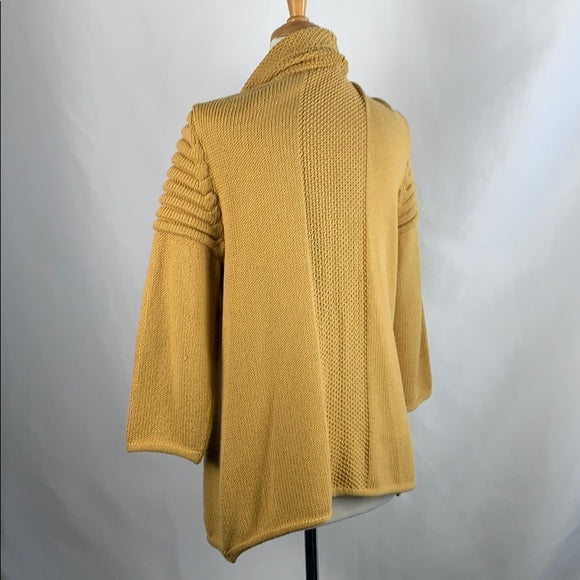 St John Mustard Open Cable Knit Sweater