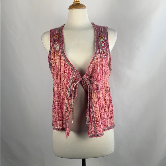J Peterman Pink Embroidered Vest