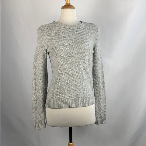 Theory Gray Textured Knit Sweater