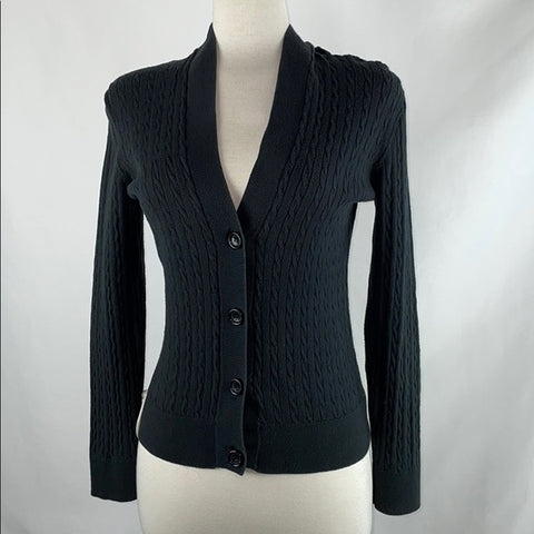 Michael Kors Black Cable Knit Hooded Cardigan