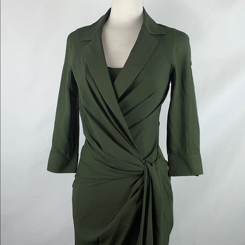 Byron Lars Olive Wrap Dress w Twist & Side Zip
