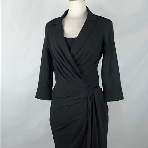Byron Lars Black Wrap Dress w Twist & Side Zip Sz 0