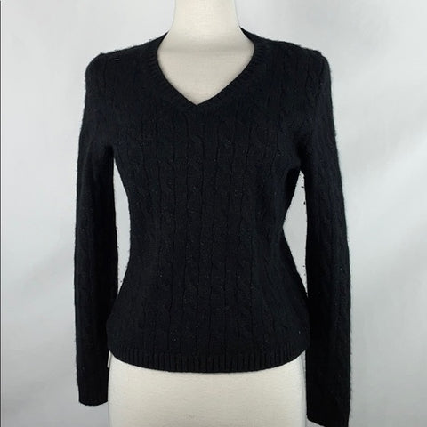 Lord & Taylor Black Sparkly Cashmere Cable Knit