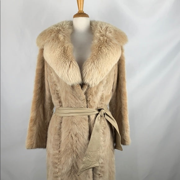 Tan Mink with Fox Collar Belted Coat