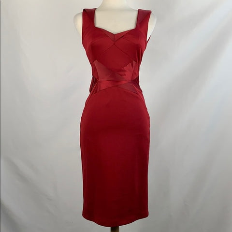 Phase Eight Red Pleated Front Midi Coctail