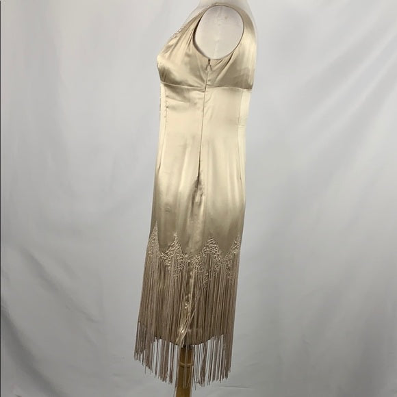 White House Black Market Tan Flapper Dress