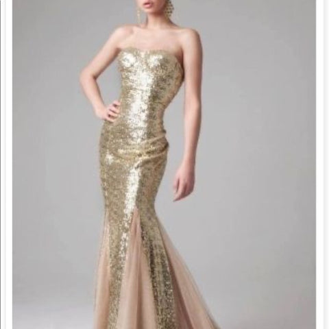 Jovani Gold with Bustier Top