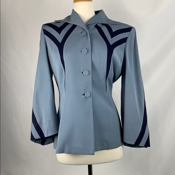 Blue with Navy Stripes Vintage 60s Blazer