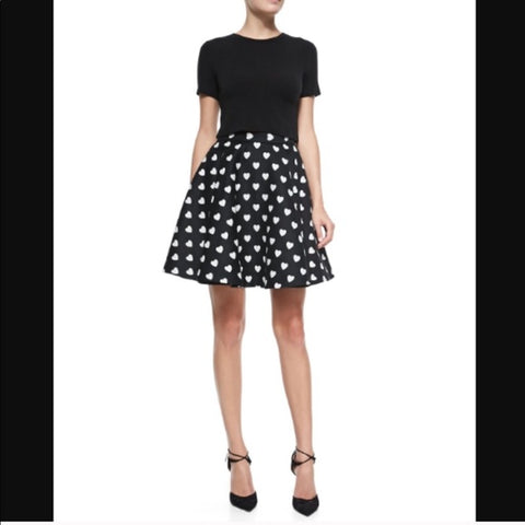 Alice + Olivia 50s look black with hearts