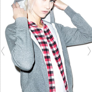 John Eshaya Zip Hoodie with Plaid Shirt