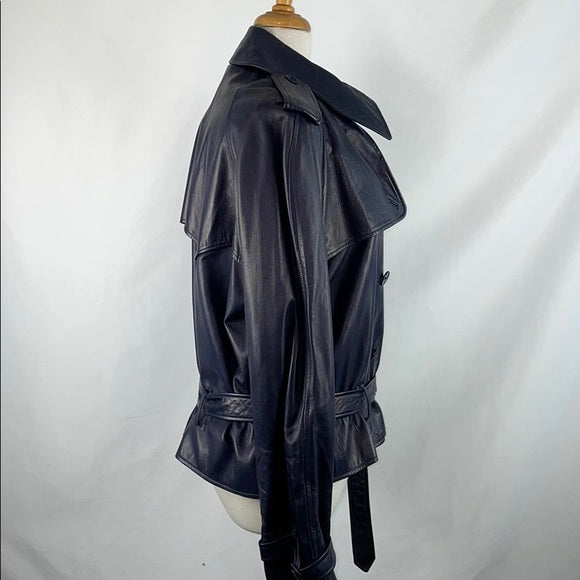 Ralph Lauren Blue Lamb Leather Moto Jacket