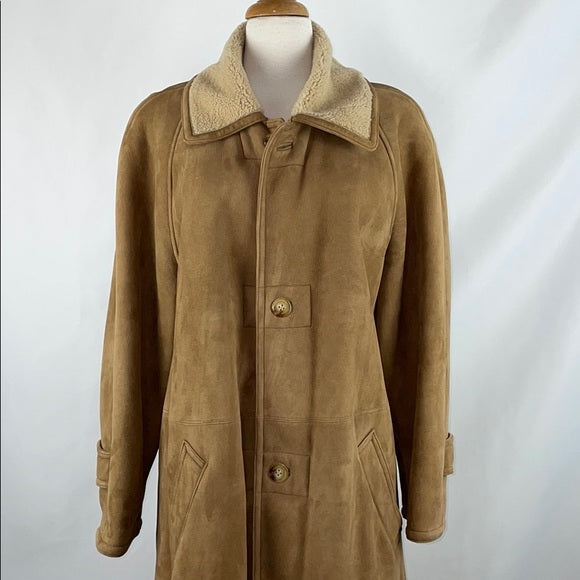 Ralph Lauren Tan Shearling Full Length Coat