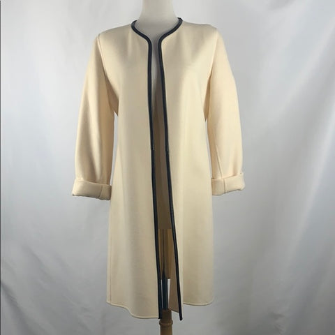 Ellen Tracey Cream and Black Leather Trim Jacket