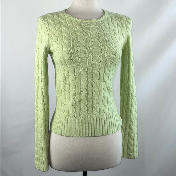 Barneys NY Green Cable Knit Cashmere Sweater
