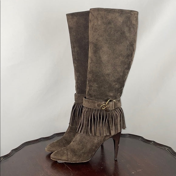 Louis Vuitton Brown Suede Fringe Boots
