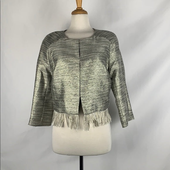 NEW Amanda Uprichard Grey Shimmer with Fringe Trim