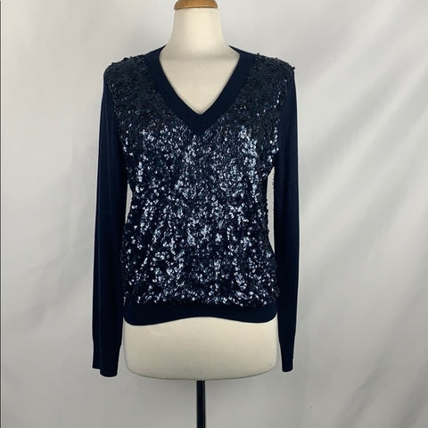 Magashconi Navy Silk Cashmere with Sequin Front