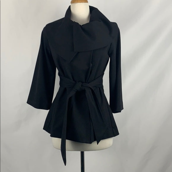 Calvin Klein Black Shawl with Collar and Belt