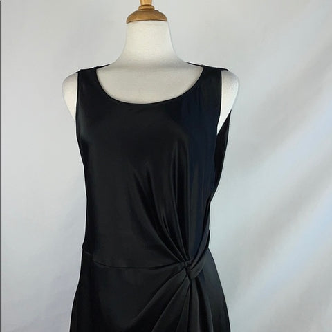 St. John Black Satin Cinched Front Dress