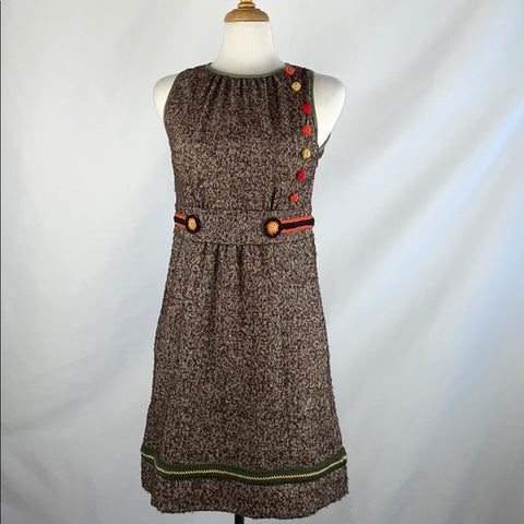Missoni Brown Tweed Flower Embroidered Dress