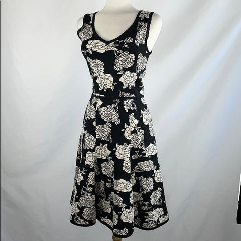 Zac Posen Black & White Knit Floral Dress