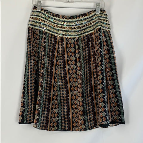 Free People Multi Print Skirt with Beads