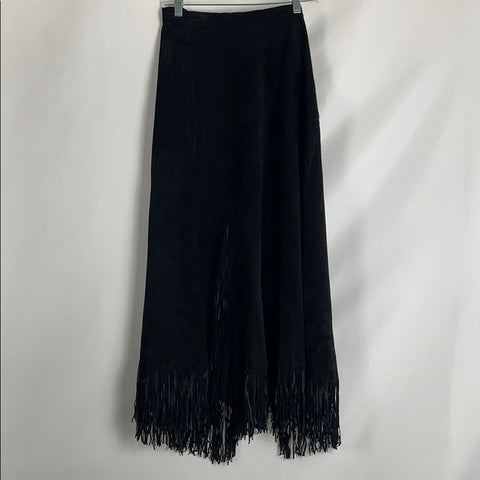 Black Suede Skirt with Fringes