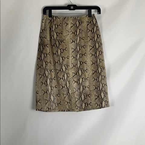 Saks Fifth Avenue Leather Snake Skin Pencil Skirt