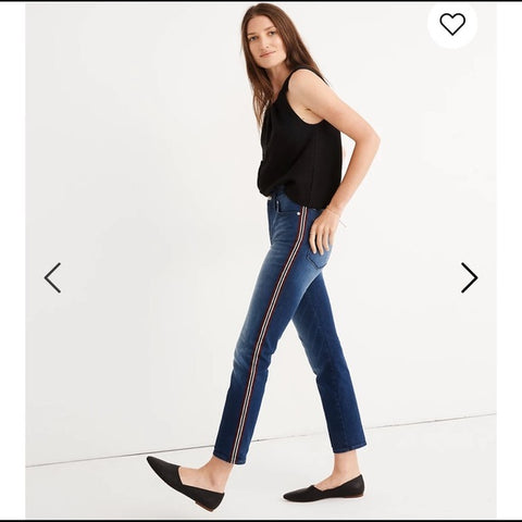 NEW Madewell Stovepipe Striped Side Denim