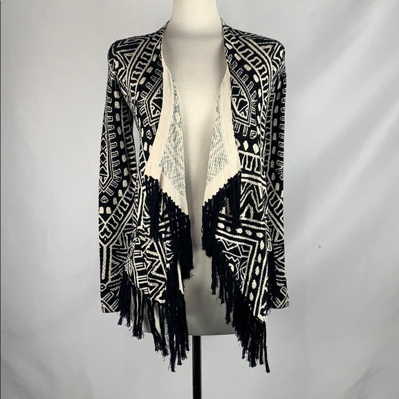 INC Black and White Print with Fringe Trim