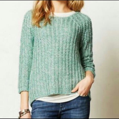 Anthropologie Green Shimmer Knit Sweater