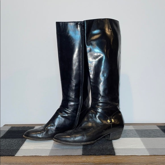 Salvatore Ferragamo Vintage Black Leather Boots