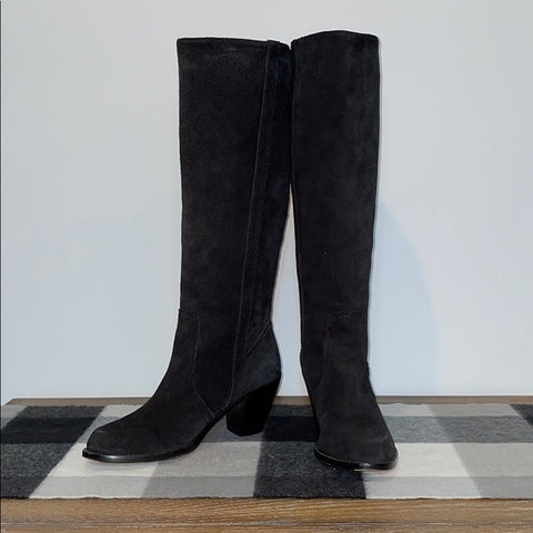 Michael Kors Black Suede Cable Braid Heeled Boots