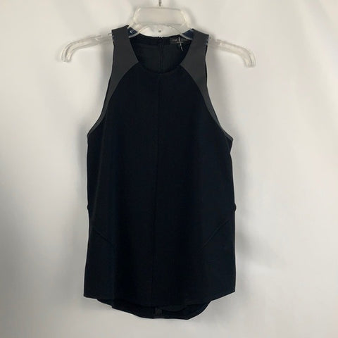 Rag and Bone Black with Faux Leather Tank Top