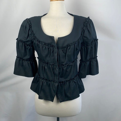Ann Fontaine Black Ruffle 3/4 Jacket