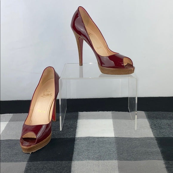 Christian Louboutin Red Patent Peep Toe Platforms