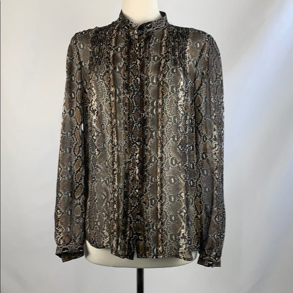 Tan and Black Snakeskin Blouse