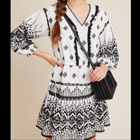 Anthropologie White with Black Embroidery Dress