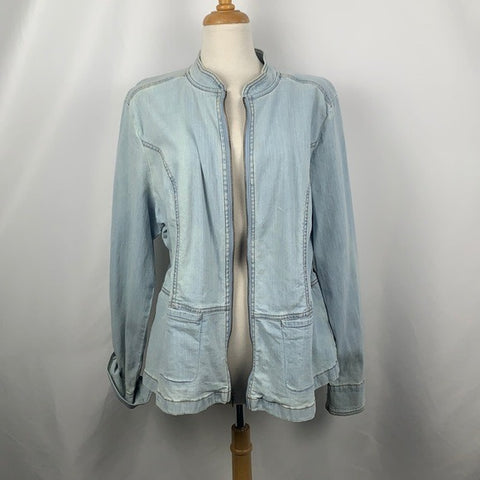 Denim & Co Zip Front Jean Jacket